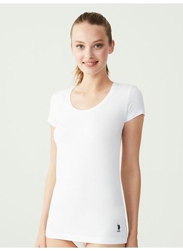 U.S. Polo Assn. Derin Yuvarlak Yaka T-Shirt Beyaz